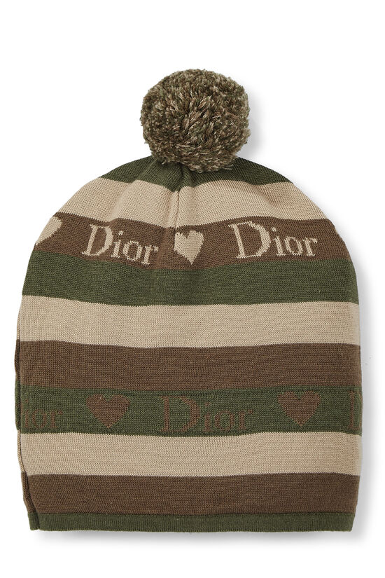 Green Striped Wool Logo Beanie, , large image number 1