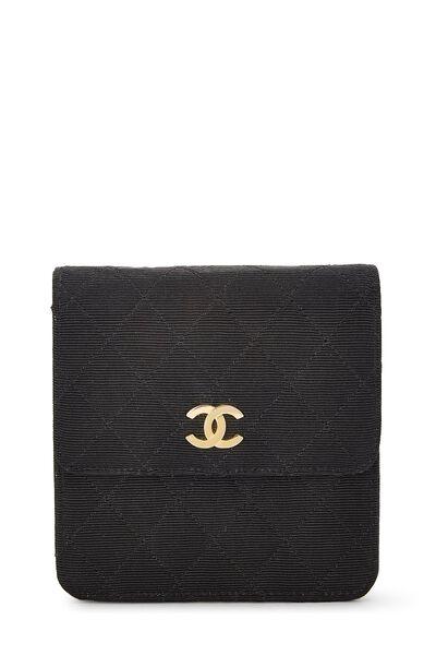 Black Quilted Silk Faille Belt Bag