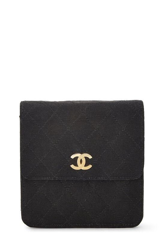 Black Quilted Silk Faille Belt Bag, , large image number 0