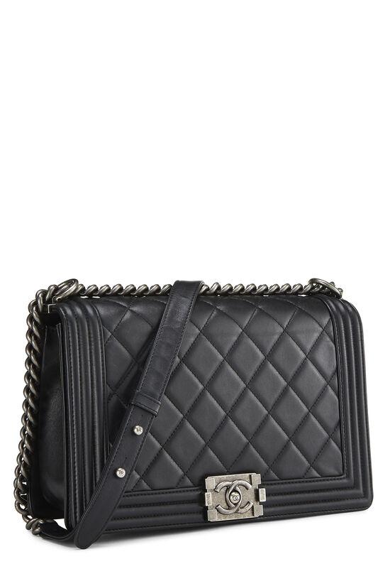 Black Quilted Lambskin Boy Bag Medium, , large image number 2