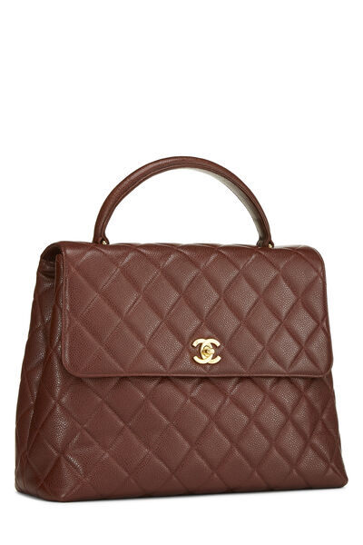 Brown Quilted Caviar Kelly Jumbo, , large