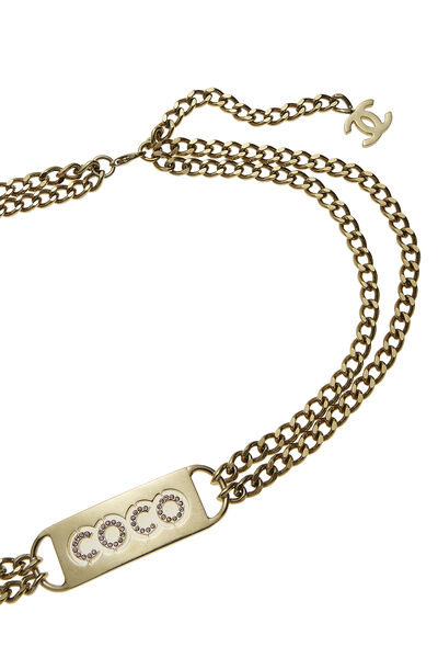 Gold & Pink Crystal Coco Chain Belt, , large