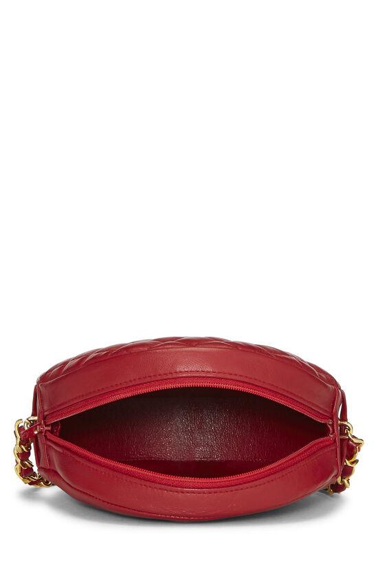 Red Lambskin 'CC' Round Shoulder Bag, , large image number 4