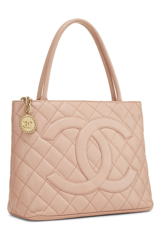 Pink Quilted Caviar Medallion Tote, , large image number 1