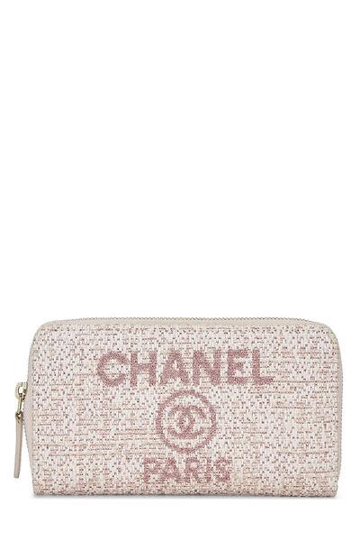 Pink Woven Raffia Deauville Wallet Small