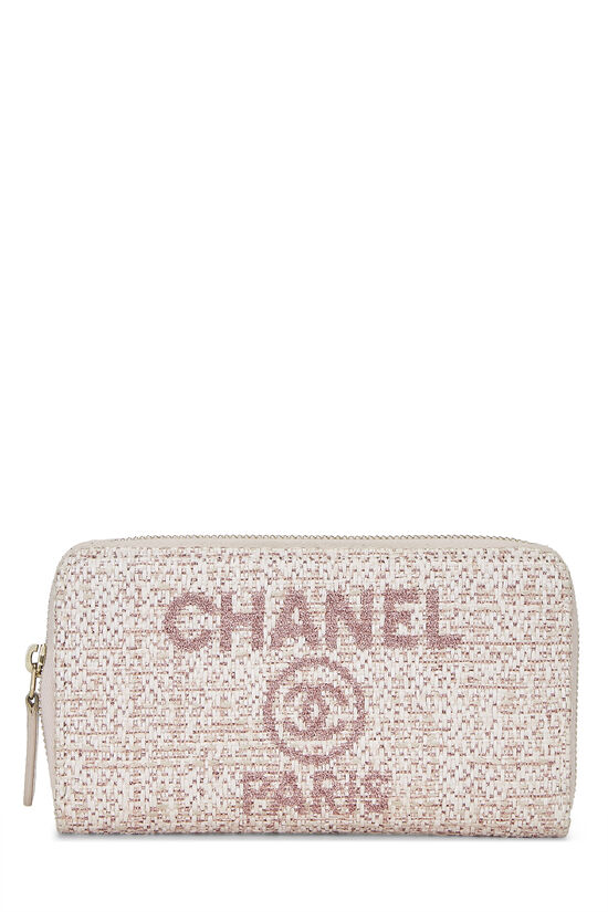 Pink Woven Raffia Deauville Wallet Small, , large image number 0