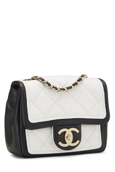 White & Black Quilted Lambskin Classic Square Flap Mini, , large