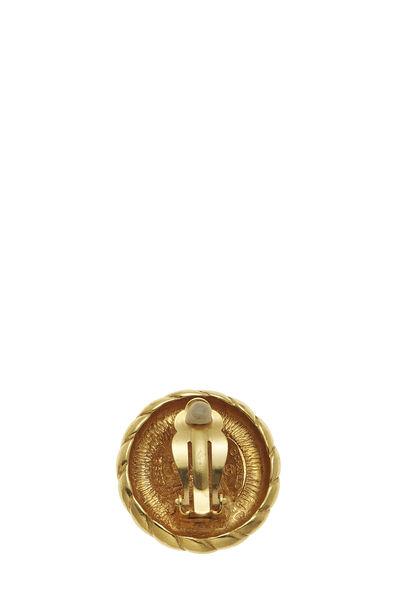 Gold Rope Edge 'CC' Earrings, , large