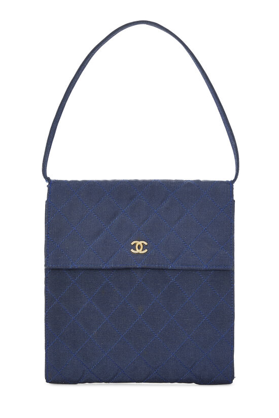 Navy Quilted Fabric Faille Handbag, , large image number 3