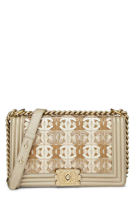 Paris-Dubai Gold Leather Woven 'CC' Boy Bag Medium, , large image number 0