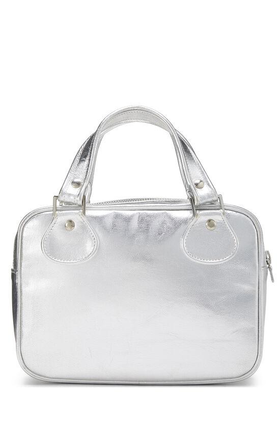 Metallic Silver Leather Logo Handbag Small, , large image number 3
