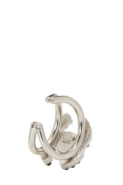 Silver & Black 'CC' Ring, , large