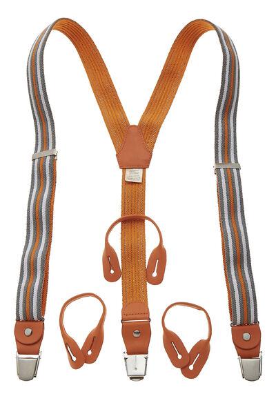 Orange & Multicolor Striped Elastic Suspenders