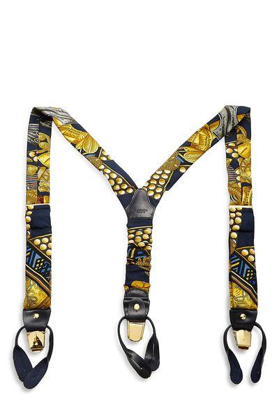 Navy & Yellow Silk Motif Suspenders, , large