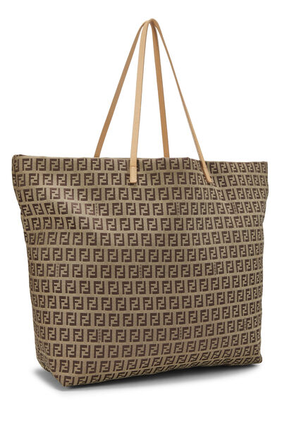 Beige Zucchino Canvas Zip Tote Large, , large