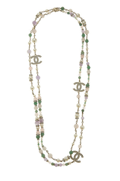 Gold & Multicolor Beaded Double Strand Necklace
