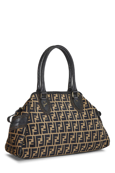 Black & Beige Zucca Velour Bag Du Jour Medium, , large