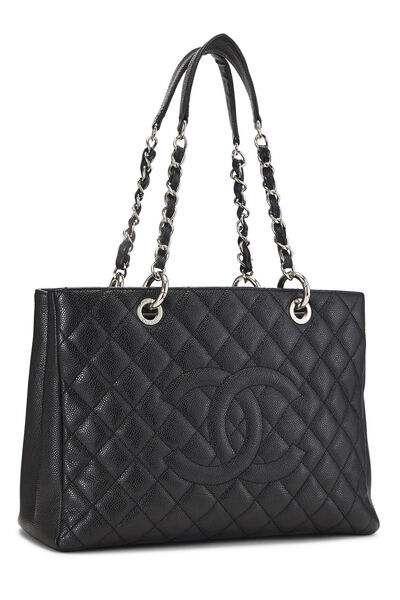 Black Quilted Caviar Grand Shopping Tote (GST), , large