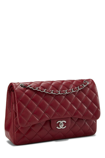 Red Quilted Caviar New Classic Flap Jumbo, , large