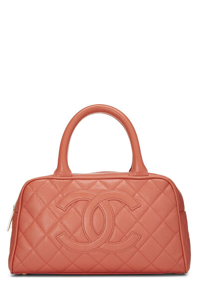 Coral Quilted Caviar Bowler Mini