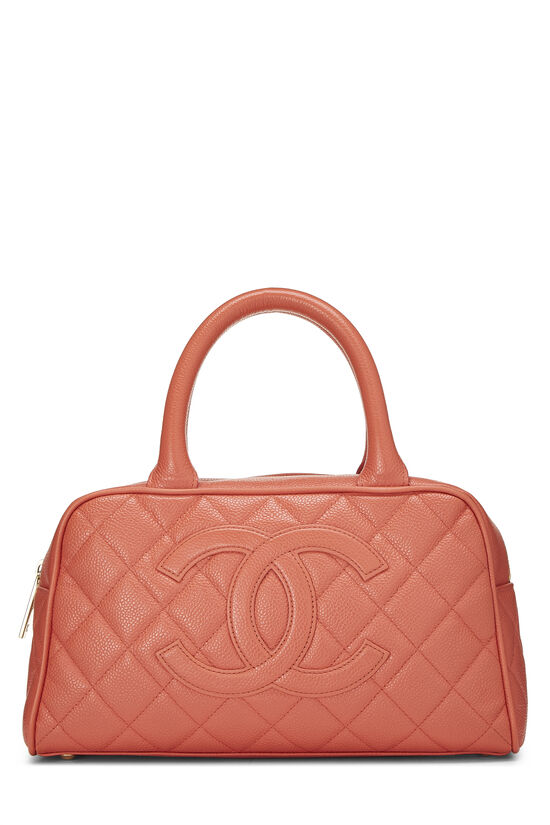 Coral Quilted Caviar Bowler Mini, , large image number 0