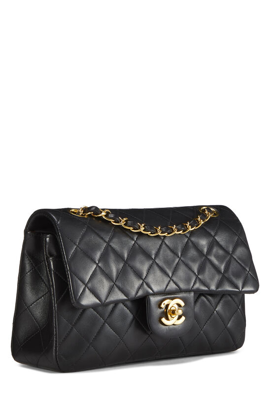 Black Quilted Lambskin Classic Double Flap Small, , large image number 1