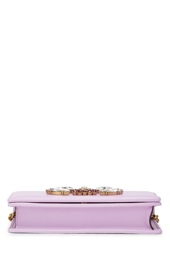 Pink Leather GG Marmont Wallet on Chain Mini, , large image number 4