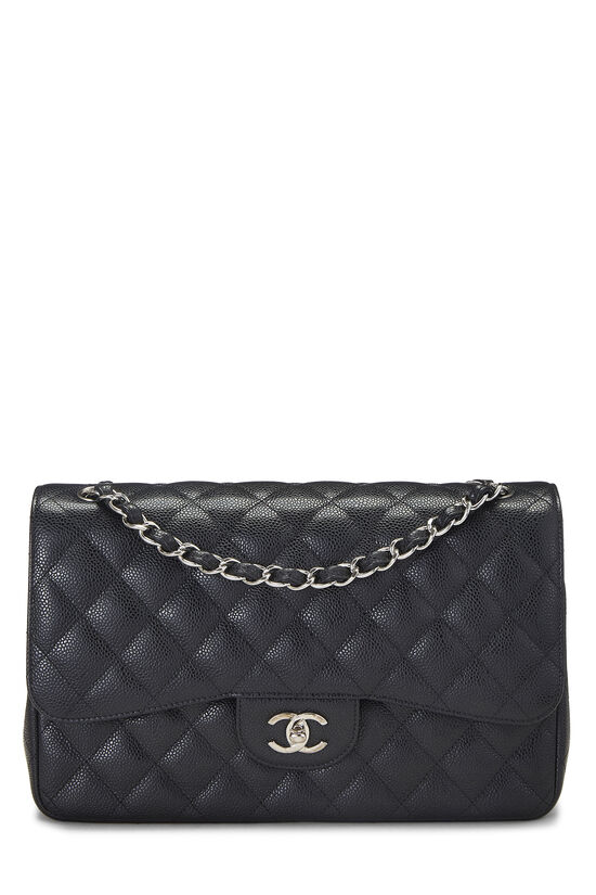 Black Quilted Caviar New Classic Double Flap Jumbo, , large image number 0