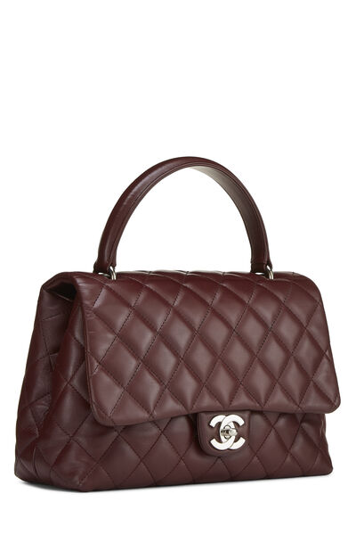 Burgundy Quilted Lambskin Kelly Small, , large