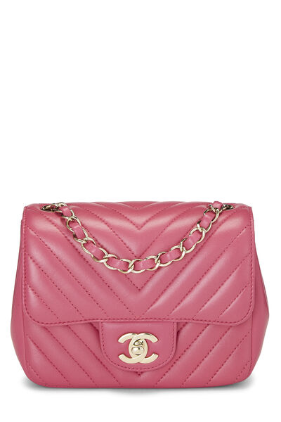 Pink Quilted Lambskin Classic Square Flap Mini