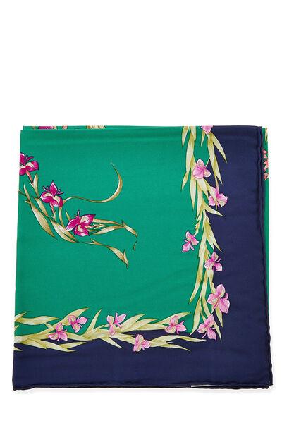 Green & Multicolor 'Cheval Fleuri' Silk Scarf 90, , large