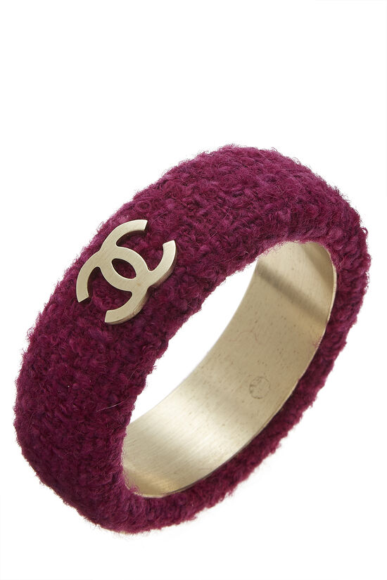 Purple Tweed 'CC' Bangle, , large image number 0