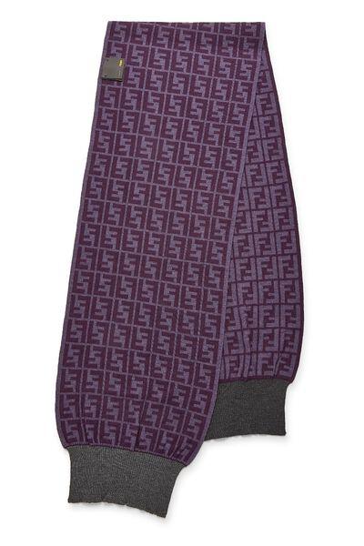 Purple Zucca Wool Scarf, , large