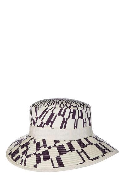 Cream & Purple Silk Logo Print Bucket Hat