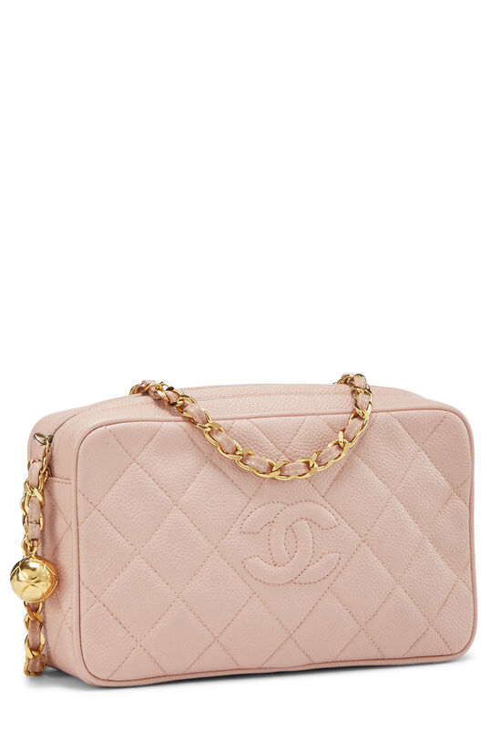 Pink Quilted Caviar Diamond Camera Bag Small , , large image number 1