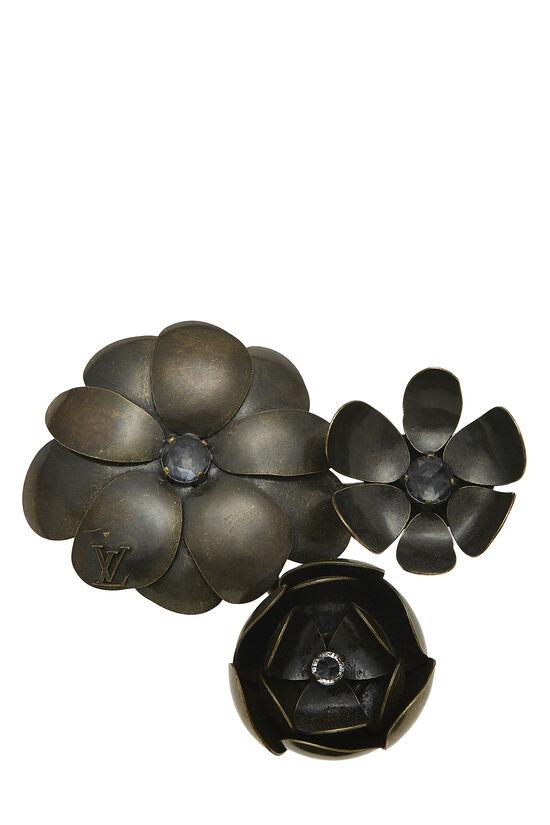 Brown Metal Flower Pin, , large image number 0