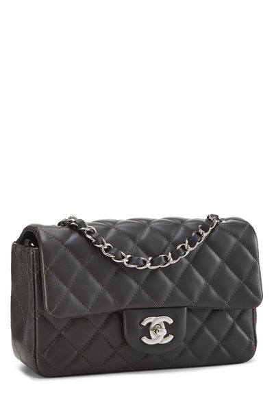 Charcoal Quilted Lambskin Classic Flap Mini, , large