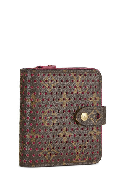 Pink Monogram Canvas Perforated Zippy Compact, , large