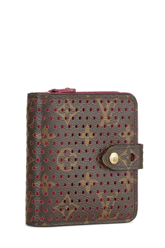 Pink Monogram Canvas Perforated Zippy Compact, , large image number 1