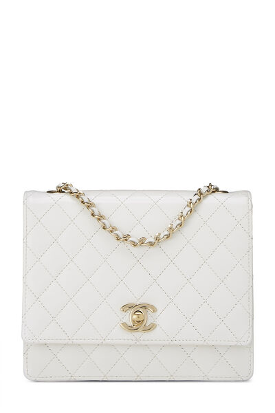 White Quilted Leather Shoulder Bag Small
