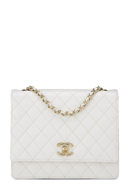 White Quilted Leather Shoulder Bag Small, , large image number 0