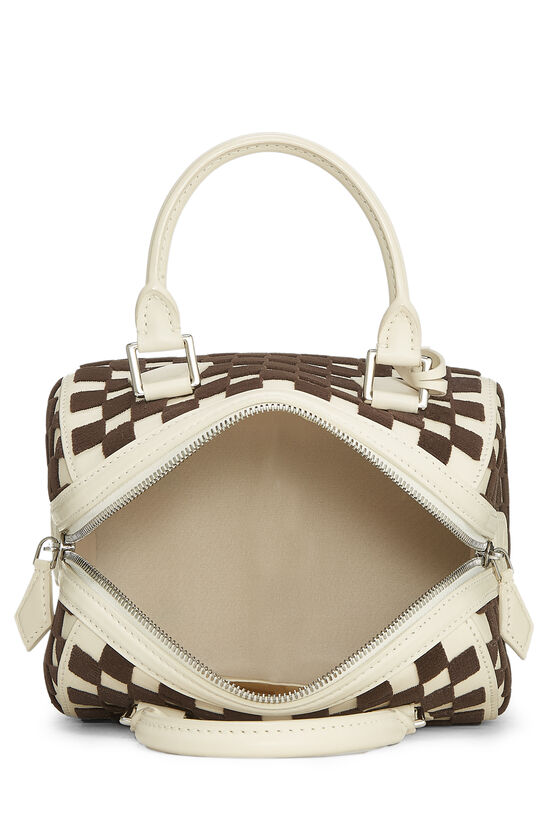 Cream & Brown Damier Cubic Speedy Cube PM, , large image number 4