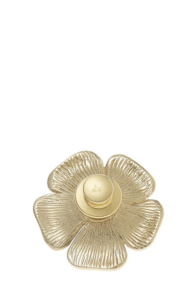 Gold & Faux Pearl Camellia Pin Small, , large