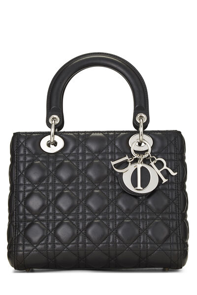 Black Cannage Quilted Lambskin Lady Dior Medium