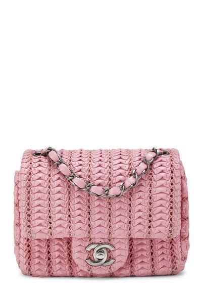 Pink Woven Lambskin Classic Square Flap Mini