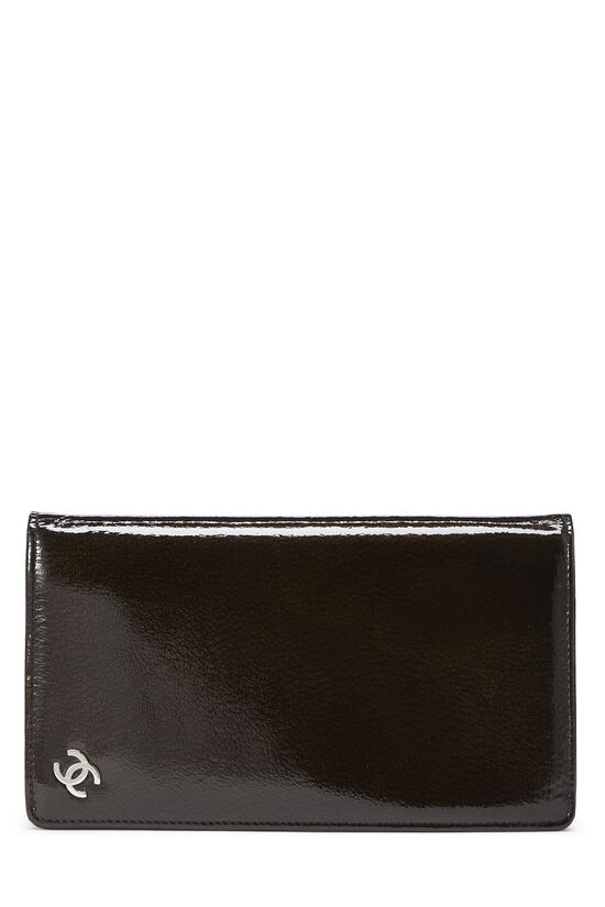 Brown Patent Leather Yen Wallet, , large image number 0