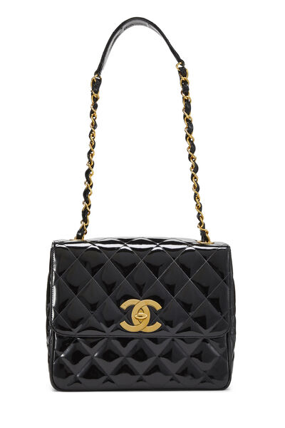 Black Quilted Patent Leather Square Flap Bag