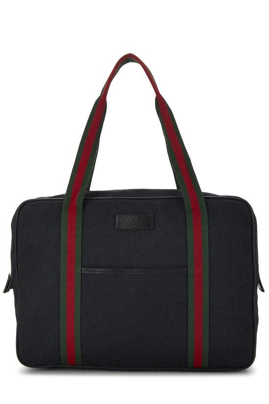 Black GG Canvas Web Briefcase, , large image number 0