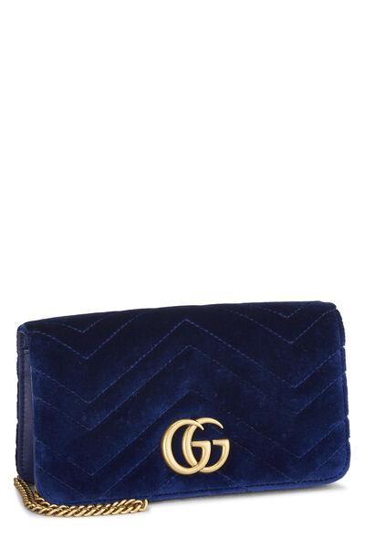 Blue Velvet GG Marmont Wallet on Chain Mini, , large