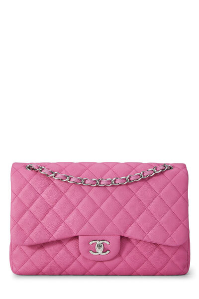 Pink Quilted Caviar New Classic Double Flap Jumbo